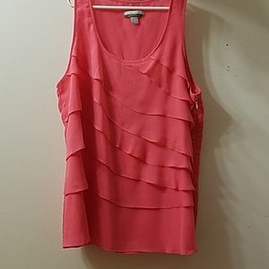 Boston proper pink with ruffle front detail